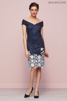 Gina Bacconi Navy Anthea Contrast Lace Dress