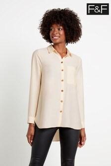 F&F Ivory Xmas Satin Longline Shirt