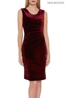Gina Bacconi Red Gaela Velvet Dress