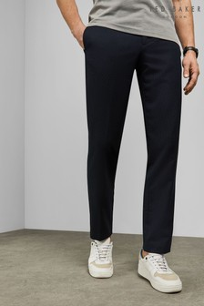 Ted Baker Blue Hemstro Slim Fit Textured Trousers