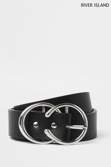 River Island Silver Horseshoe Double Ring Belt