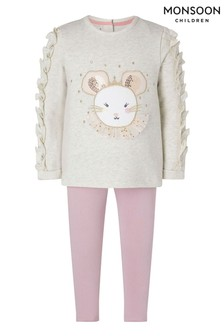 Monsoon Oatmeal Baby Mouse Face Top And Legging Set