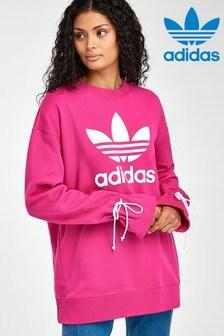 Розовый джемпер с круглым вырезом и завязками adidas Originals