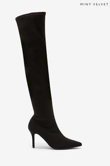 Mint Velvet Lorna Black Long Sock Boots