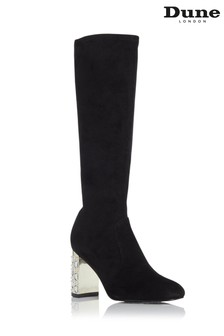 Dune London Stargazing Black Jewelled Heel Knee High Boots