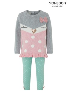 Monsoon Children Grey Baby Betsy Knit Set