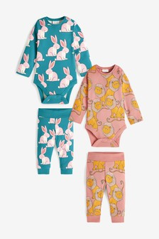 4 Piece Character Ribbed Bodysuit And Leggings Set (0mths-2yrs)