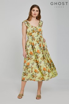 Ghost London Yellow Lisa Alma Vintage Fleur Print Cotton Dress