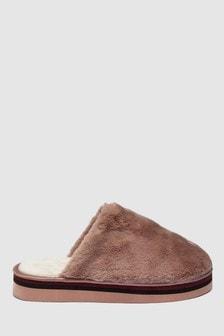 條紋裝飾厚底拖鞋