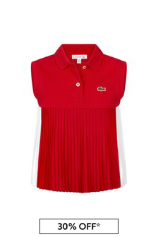 Lacoste Kids Girls Red Cotton Sleeveless Polo Top