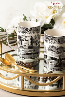Set of 2 Spode Black Italian Mug and Spoon Set
