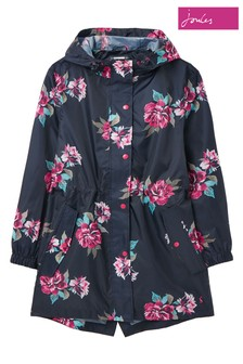 Joules Blue Golightly Printed Packaway Waterproof Jacket