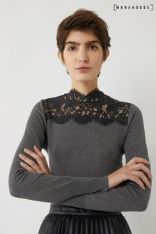 Warehouse Grey Lace High Neck Jumper