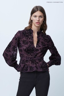 French Connection Alena Devore High Neck Top