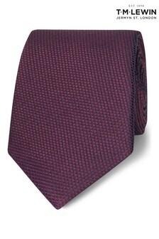 T.M. Lewin Burgundy Birdseye Silk Slim Tie