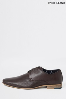 River Island Dark Red Rixone Textured Derby Shoes