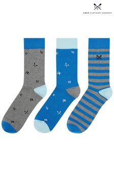 Crew Clothing Company Blue Mixed Socks Three Pack