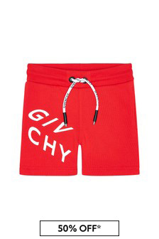 Baby Boys Red Cotton Shorts