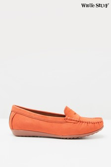 White Stuff Orange Driving Leather Moccasin Shoes