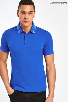 Emporio Armani Blue Poloshirt With Eagle Tipping
