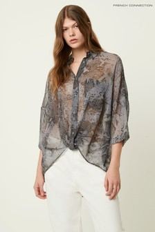 French Connection Blue Danae Crinkle Shirt