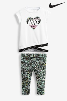 Nike Infant White Regrind Print T-Shirt And Leggings Set