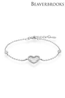 Beaverbrooks Silver Cubic Zirconia Infinity Heart Bracelet