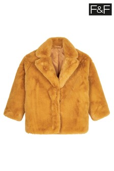 F&F Mustard Faux Fur Collar Coat