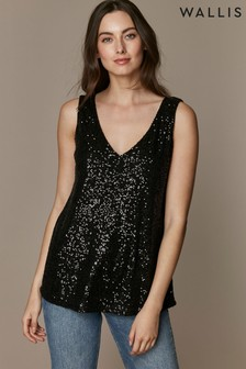 Wallis Black Sequin Cami Top