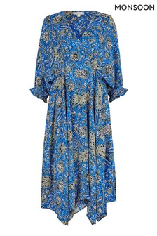 Monsoon Blue Paisley Hanky Hem Dress