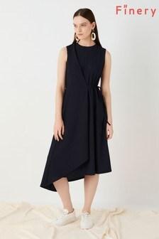 Finery London Blue Marston Textured Jersey Dress
