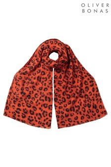 Oliver Bonas Leopard Printed Red Midweight Scarf