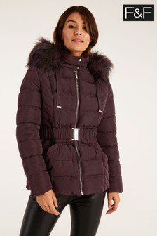 F&F Burgundy Short Padded Mulberry Coat