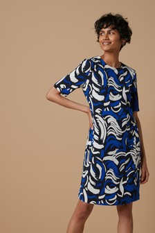 Short Sleeve Crepe Shift Dress