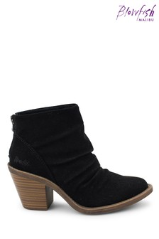 Blowfish Black Soft Nubuck Lagol Vegan Heeled Ankle Boots