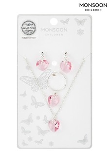 Monsoon Silver Swarovski® Heart Necklace, Ring And Earrings