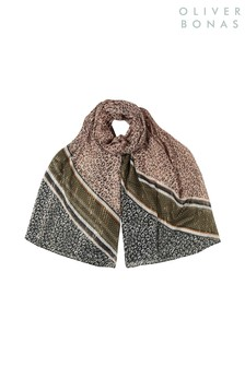Oliver Bonas Pink Patched Animal Lightweight Scarf