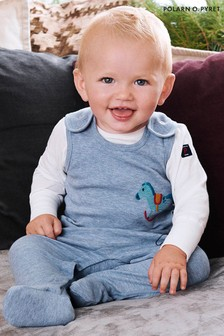 Polarn O. Pyret Blue GOTS Organic Toy Embroidery Romper