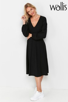 Wallis Black V-Neck Midi Dress