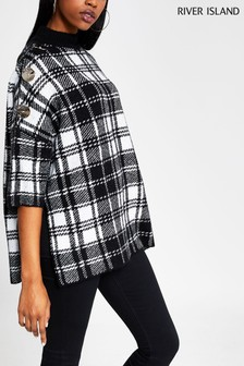 River Island Black Print Wintour Check Cape