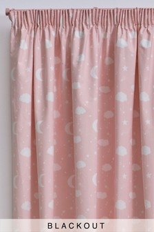 Moon and Stars Pencil Pleat Curtains