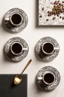 Set of 4 Spode Black Italian Espresso Cup & Saucers