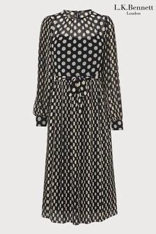 LK Bennett Felix Large Polka Spot Print Pleat Dress