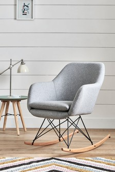 Dottie Wool Blend Grey Rocker Chair