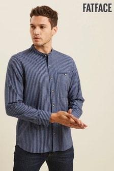 FatFace Blue Tall Heyshott Stripe Grandad Shirt