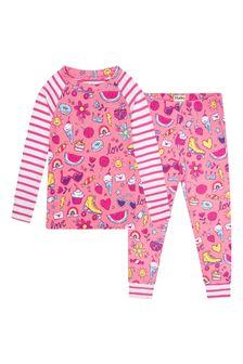 Hatley Kids & Baby Girls Pink Lovely Doodles Organic Cotton Raglan Pyjama Set