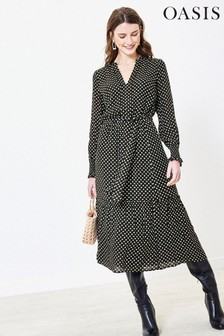 Oasis Black Sparkle Spot Midi Dress