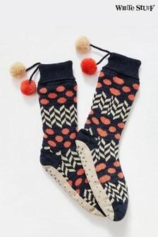 White Stuff White Patchwork Slipper Socks