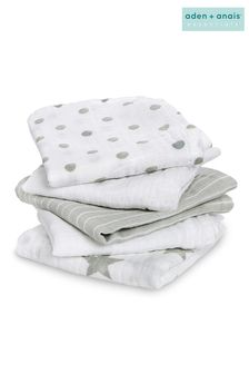 aden + anais Essentials Grey Muslin Squares 5 Pack