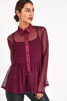 Dot Mesh Blouse